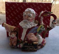 Fitz & Floyd Christmas Santa's List Teapot Mint in Box