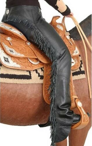 Softy leather Black Riding Driving Motorcycle Western CHAPS S M L XL Tough 1