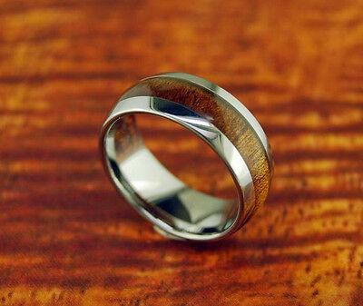 8MM Koa Wood Tungsten Wedding Band,Dome,Hawaiian,Comfort Fit,His,Her,Anniversary