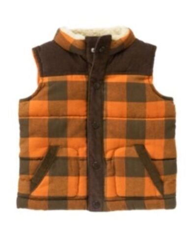 GYMBOREE WILDERNESS LAKE ORANGE PLAID LINED VEST 6 12 2T 3T NWT