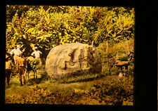 HAND COLORED PHOTO ON GLASS OF MEN W/ ANCIENT CARVED MAYAN STONE - GUATEMALA
