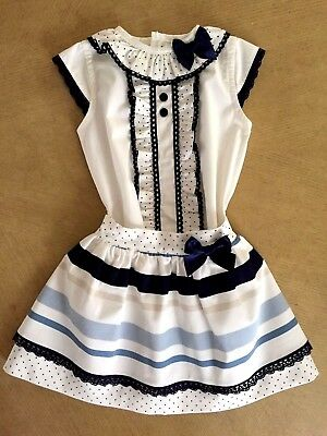 BABY-GIRLS 2018 OFFICIAL SPANISH SKIRT /& TOP//BLOUSE SET IVORY /& NAVY 2 PCS 6M-6Y