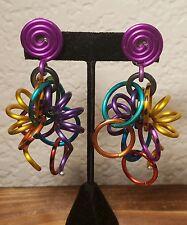 Vintage DAVID SPADA Retro Freedom Ring Spiral Links Multi-Color Clipon Earrings