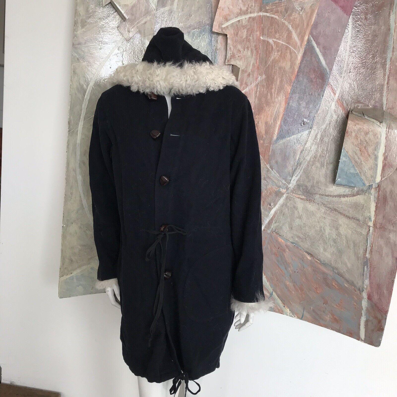 Christensen Sigersen Dark bluee Mongolian Lamb Womens Wool Pea Coat Peacoat SZ XS