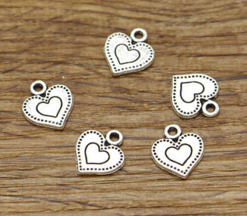 50 Double Heart Charm Valentine Wedding Bulk Charms Antique Silver 12x14 2411