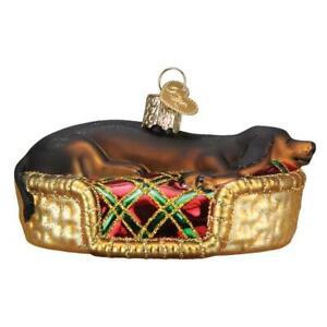 Old World Christmas SLEEPY DACHSHUND (12595)N Glass Ornament w/ OWC Box