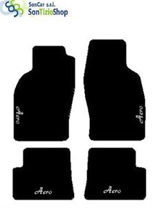 TAPPETI SAAB 93 CABRIO 1998-02 AERO bianco RICAMO 4 Fix Compatibili!