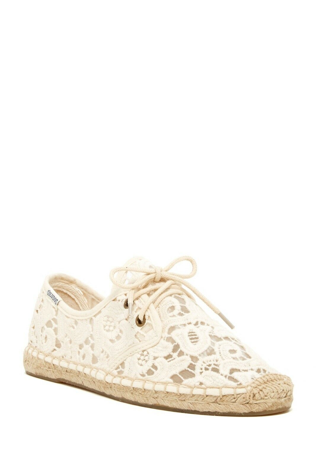 Soludos Womens NIB Espadrille Lace Up Crochet Sneakers Flats 10 Ivory Tulip Lace