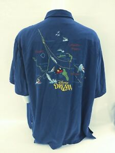 Tori-Richard-Disney-Dream-Cruise-Blue-Stitched-Color-Map-Shirt-Men-039-s-Size-3XL
