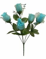 60 Roses Turquoise Blue Teal Aqua Wedding Bouquet Silk Bridal Flowers