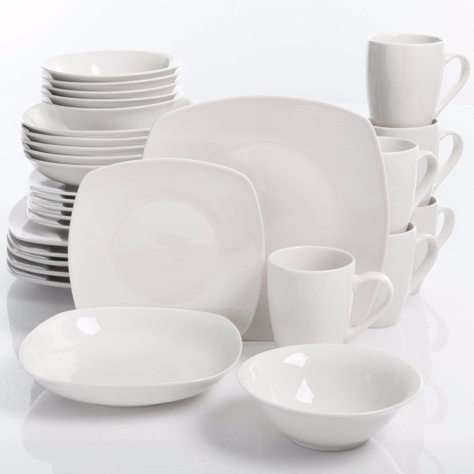 30-Piece Porcelain Dinnerware Set Square Dinner Plates Dish Service For 6 Weiß