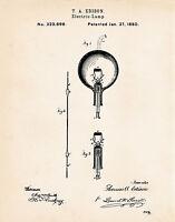 1880 Edison Bulbs Patent Cool Science Teacher Gifts Patent Wall Art Prints
