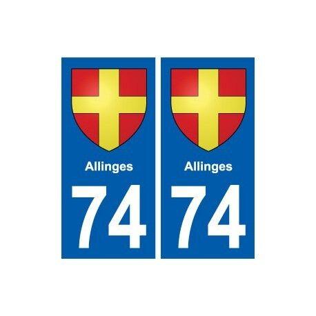74 Allinges blason autocollant plaque stickers ville arrondis