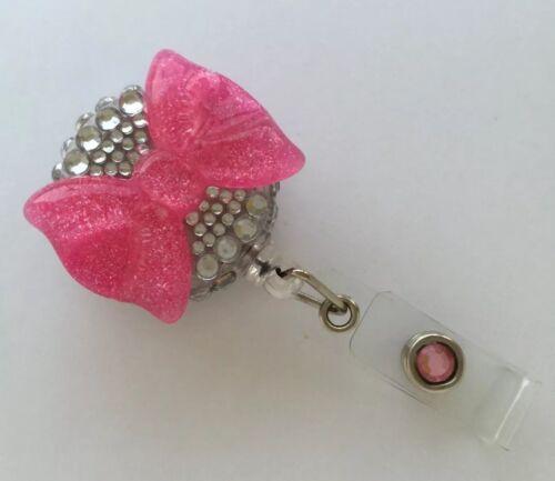 New Retractable Reel Bling ID Badge Holder handmade Rhinestones Pink Big Bow