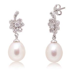 Aufstrebend Luxus Perlenohrringe 925er Sterling Silber Weissgold Plattiert (spo7)
