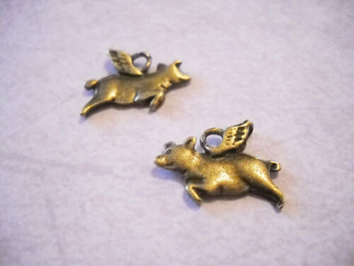 6 Flying Pig Charms Antiqued Bronze Fairy Tale Pendants 2 Sided 15mm