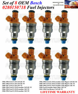 8x Fuel Injectors BOSCH OEM for 1985-96 Ford F-250 5.0//5.8L V8 24LB 4 HOLE UPG.
