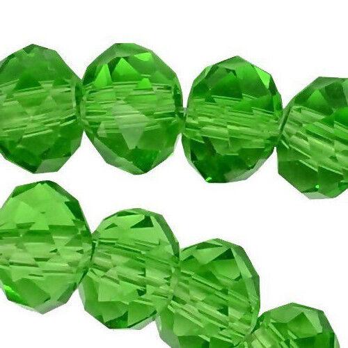 25 Perles De Verre Rondell 6 Mm Vert Peridot Tchèque Cristal Perles Best x53