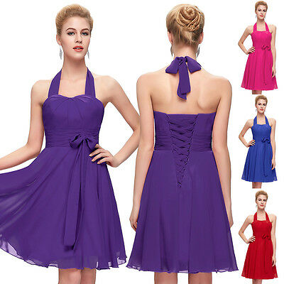 2017 Short Chiffon Bridesmaid Evening Party Ball Prom Gown Formal Cocktail Dress