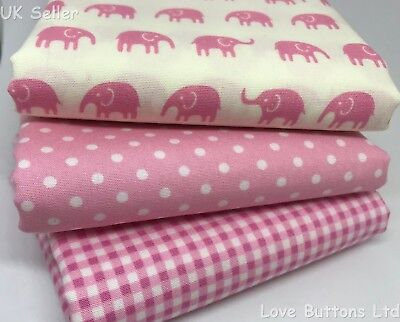 ROSE AND HUBBLE PINK SHEEP FABRIC 100/% COTTON FAT QUARTERS