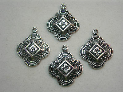 Antiqued Silver plated Victorian Drops Earring Findings - 4