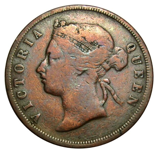 Straits Settlements 1 ( One ) Cent 1887 coin km#16 Queen Victoria nice