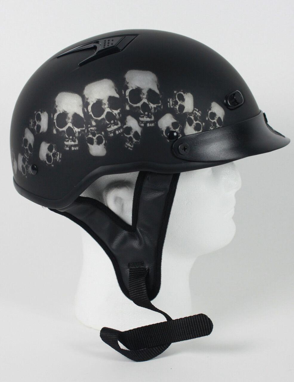 Pila de moto cráneo D.o.t con ventilación mitad casco Beanie cascos shorty Encendedor Nuevo
