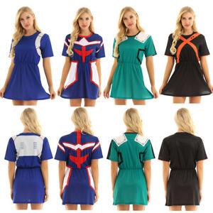 Women-Summer-Short-Sleeve-3D-Print-Bench-Short-Mini-Dress-Tops-Cosplay-Costume
