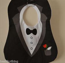 BOYS SELECTION/WEDDING/BLACK TUXEDO. SPECIAL OCCASION BABY BIB.