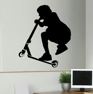 Large Stunt Scooter Childrens Bedroom Wall Art Sticker Stencil