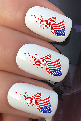 NAIL ART SET #612 x24 USA AMERICA AMERICAN FLAG WATER TRANSFER DECALS STICKERS