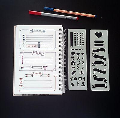 Set of 2 stencils, Bullet Journal Stencil, Planner Stencil, Bullet Journal