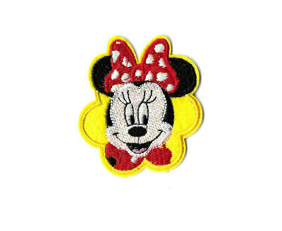 Disney Embroidered Iron On Applique Patch Pink Bow Cartoon Minnie Mouse