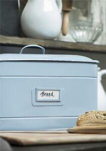 Metall-Brotdose-Brotbox-emaille-blau-hellblau-BREAD-Dose-Shabby-IB-Laursen