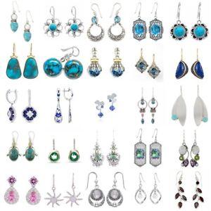 Boho-925-Silver-Turquoise-Emerald-Ear-Hook-Women-Jewelry-Dangle-Drop-Earrings