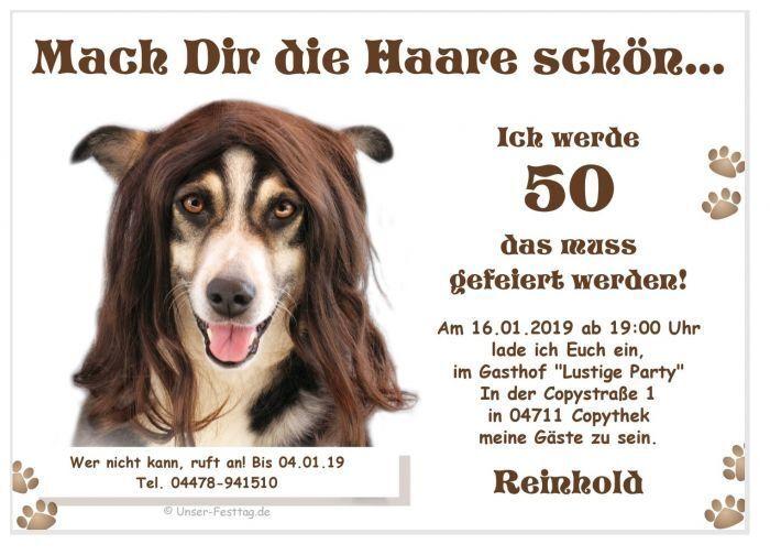 Einladungen Geburtstag lustig Hund Haare 20 30 40 50 60 Jahre Alter Text ändern   | Online Store  | Verschiedene