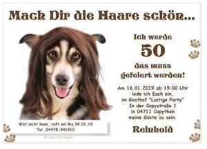 Einladungen Geburtstag Lustig Hund Haare 20 30 40 50 60 Jahre Alter
