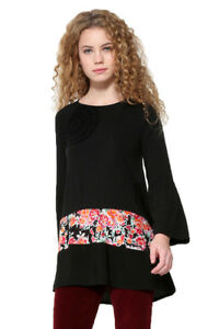 Xs xxl Tunic Audrey 18 Desigual Uk Rrp Long Sleeved Top 8 Floral Black FwfqTf0a