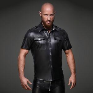NOIR-HANDMADE-Wetlook-Shirt-Black-Matt-Cop-Shirt-GOTHIC-CLUBWEAR-PARTY