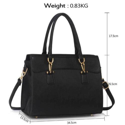 Womens Handbag Faux Leather Polished Hardware Ladies Designer Tote Fashion Bag