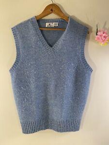 Jockey-100-Shetland-Wool-Mens-Size-Medium-Blue-Sweater-Vest