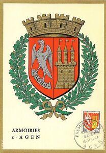 CARTE-POSTALE-MAXIMUM-PREMIER-JOUR-ARMOIRIES-D-039-AGEN-1964