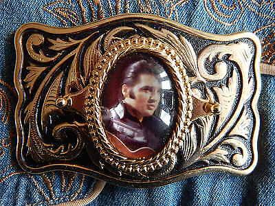 NEW HAND CRAFTED IN U.K WESTERN ELVIS PRESLEY BELT BUCKLE GOLD BLACK METAL