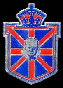 Canada - Patriotic Poster Stamp - WWII - Winston Chrchill on Shield Foil Die-Cut