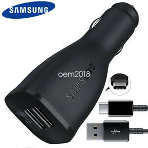 Original-Samsung-Schnell-Auto-Ladegeraet-USB-Typ-C-Kabel-Fuer-Galaxy-S10-S9-S8-A7