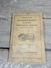 Vintage Mccormick Deering 10 20 Hp Gear Driving Tractor Manual Parts List