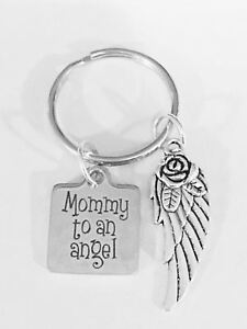 Memorial Keychain Mother Of An Angel Wing Miscarriage Heaven Sympathy Gift