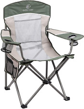ALPHA CAMP Camping Folding Beach Chair Oversized Heavy Duty Steel Frame Support 350 LBS Collapsible Padded Arm Chair with Cup Holder Quad Lumbar Back Chair Portable for Outdoor//Indoor