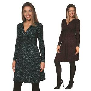Womens-Ladies-Pattern-Dress-Drape-Print-Stretch-Long-Sleeve-Ruched-Knot-Party