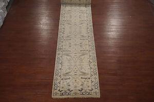 Beige-3X25-Oushak-Turkish-Runner-Veg-039-Dye-Antiqued-Hand-Knotted-Wool-Area-Rug